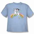 Betty Boop youth teen t-shirt Unicorn & Rainbows light blue