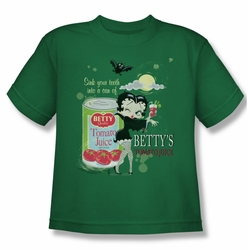 Betty Boop youth teen t-shirt Vampire Tomato Juice kelly green