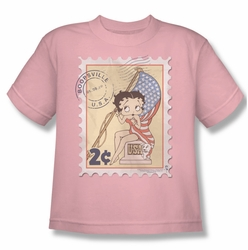 Betty Boop youth teen t-shirt Vintage Stamp pink