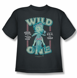 Betty Boop youth teen t-shirt Wild One charcoal