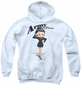Betty Boop youth teen hoodie Army Boop white