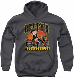 Betty Boop youth teen hoodie Betty's Motorcycles charcoal