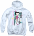 Betty Boop youth teen hoodie Booping 80s Style white