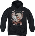 Betty Boop youth teen hoodie Classic Kiss black