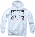 Betty Boop youth teen hoodie Close Up white