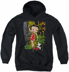 Betty Boop youth teen hoodie Luau Lady black