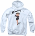 Betty Boop youth teen hoodie Marine Boop white