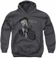 Betty Boop youth teen hoodie Motorcycle Club charcoal