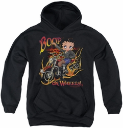 Betty Boop youth teen hoodie On Wheels black