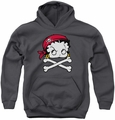 Betty Boop youth teen hoodie Pirate charcoal