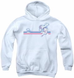 Betty Boop youth teen hoodie Reto Surf Band white