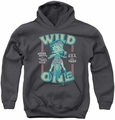 Betty Boop youth teen hoodie Wild One charcoal