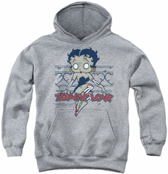 Betty Boop youth teen hoodie Zombie Pinup athletic heather
