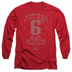 Beverly Hillbillies adult long-sleeved shirt Mr 6th Grade Grad red