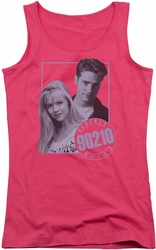 Beverly Hills 90210 juniors tank top Brandon & Kelly hot pink