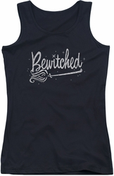 Bewitched juniors tank top Broom Logo black