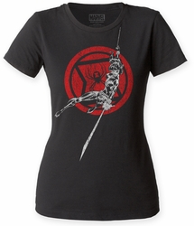 Black Widow Attack! juniors crew black womens pre-order