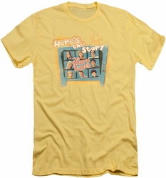 Brady Bunch slim-fit t-shirt Here's The Story mens banana