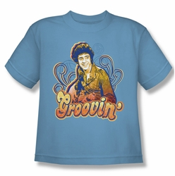 Brady Bunch youth teen t-shirt Groovin carolina blue