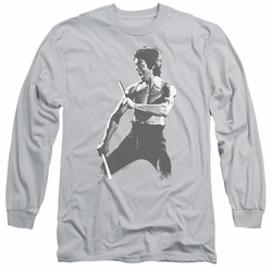 Bruce Lee adult long-sleeved shirt Chinese Characters silver