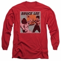 Bruce Lee adult long-sleeved shirt Comic Panel red