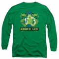 Bruce Lee adult long-sleeved shirt Double Dragons kelly green