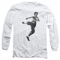 Bruce Lee adult long-sleeved shirt Flying Kick white
