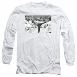 Bruce Lee adult long-sleeved shirt Kick To The Head white