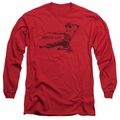 Bruce Lee adult long-sleeved shirt Line Kick red