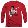Bruce Lee adult long-sleeved shirt Nunchucks red