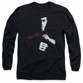 Bruce Lee adult long-sleeved shirt The Dragon Awaits black