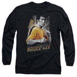 Bruce Lee adult long-sleeved shirt Yellow Dragon black