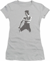 Bruce Lee juniors sheer t-shirt Chinese Characters silver