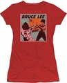 Bruce Lee juniors sheer t-shirt Comic Panel red
