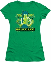 Bruce Lee juniors sheer t-shirt Double Dragons kelly green