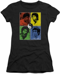 Bruce Lee juniors sheer t-shirt Enter Color Block black