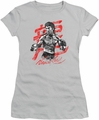 Bruce Lee juniors sheer t-shirt Ink Splatter silver