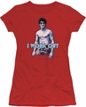 Bruce Lee juniors sheer t-shirt Lee Works Out red