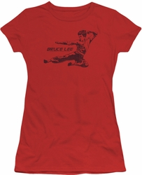 Bruce Lee juniors sheer t-shirt Line Kick red