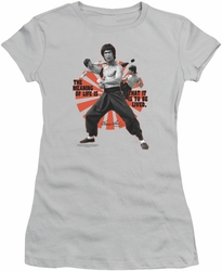 Bruce Lee juniors sheer t-shirt Meaning Of Life silver