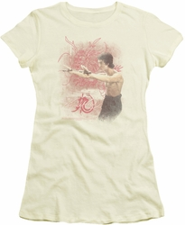 Bruce Lee juniors sheer t-shirt Power Of The Dragon cream