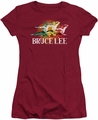 Bruce Lee juniors sheer t-shirt Tri Color cardinal