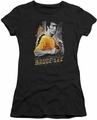 Bruce Lee juniors sheer t-shirt Yellow Dragon black