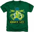 Bruce Lee kids t-shirt Double Dragons kelly green