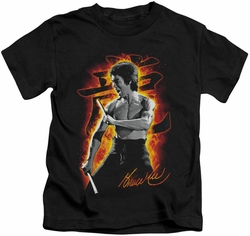 Bruce Lee kids t-shirt Dragon Fire black