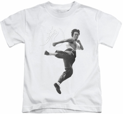 Bruce Lee kids t-shirt Flying Kick white