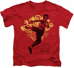 Bruce Lee kids t-shirt Immortal Dragon red