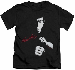 Bruce Lee kids t-shirt The Dragon Awaits black