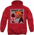Bruce Lee pull-over hoodie Comic Panel adult red