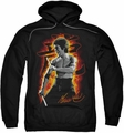 Bruce Lee pull-over hoodie Dragon Fire adult black